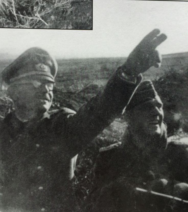 The attention of both General von Schwerin and his chief of staff Oberst i.G. Helmuth Strumpet, is drawn to the western sky by the arrival of the Stukas.