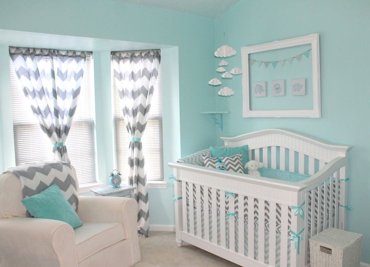 Project Nursery - Aqua and Gray Chevron Nursery