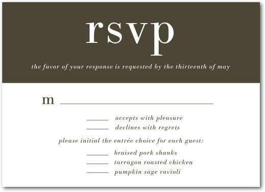 Basic Refinement - Signature White Wedding Response Cards - Magnolia Press - Dark Gray - Gray : Front