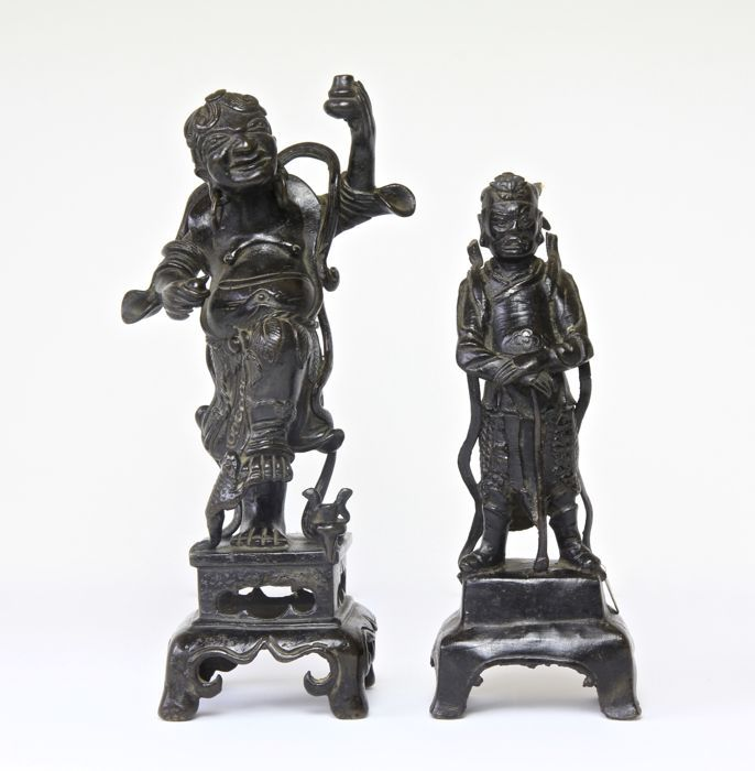(2x) Chinese Bronze Immortal Figures - 17th Century ( Ming Dynasty )