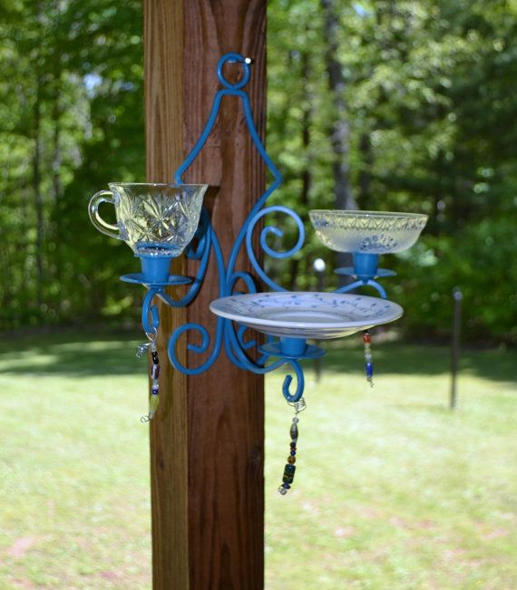 Bird feeder purple upcycled vintage glass metal candle for Upcycled bird feeder