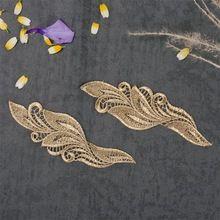 1PC 15.5x6cm Gouden Kant Applique Hoofddeksels Flower Lady Motif Venise kanten rand Wedding Dress Garment Accessories (China (vasteland))
