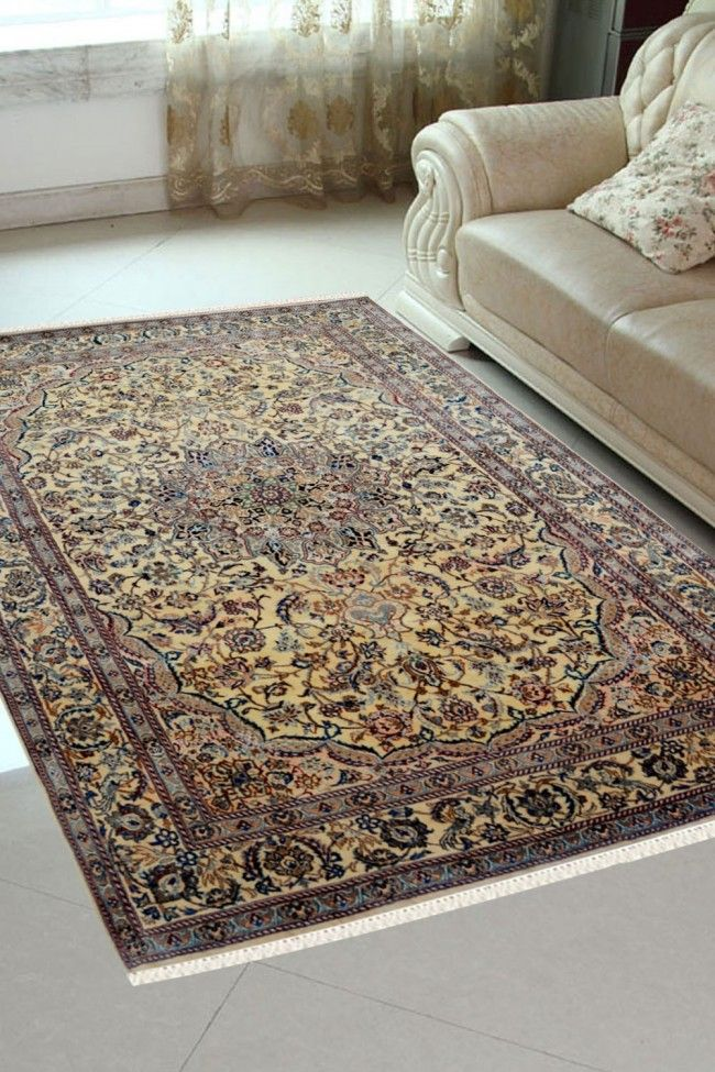 Ivory Oval Medallion Handmade Wool Carpet At Cheap Price With