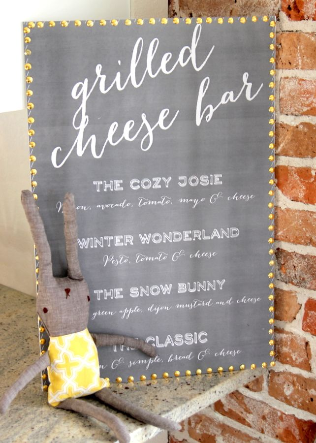 Grilled cheese bar menu - part of an adorable party designed by KoJo Designs