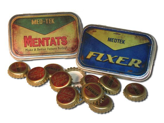 ANTHONY STOCKING STUFFER: Fallout Mentats & Fixer tins plus wasteland style by Vault541, $14.00