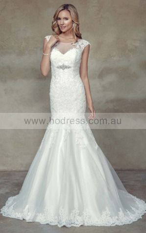 Buttons Mermaid Empire Jewel Wedding Dresses hhcf1001--Hodress