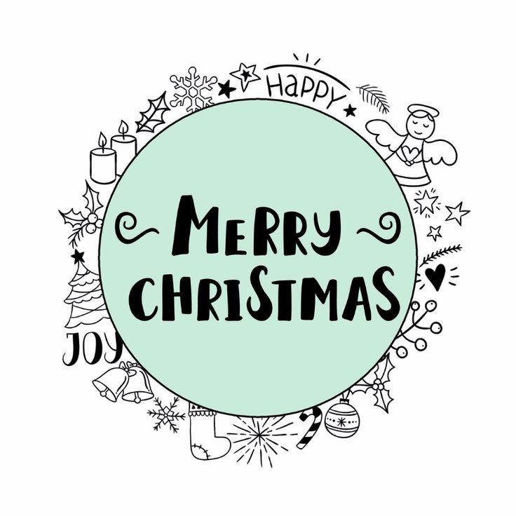 Kerstkaart met tekstcirkel en verschillende kerstdoodles, verkrijgbaar bij #kaartje2go voor € 1,89