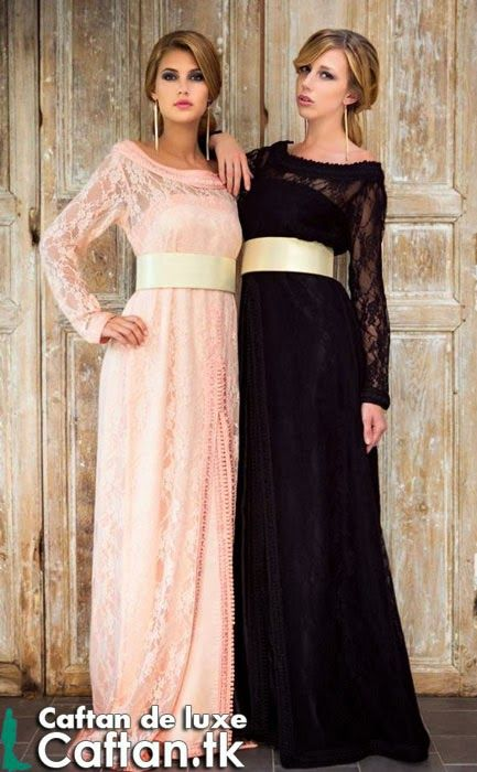 un caftan de luxe en différentes couleurs présenté par deux princesses pareilles…