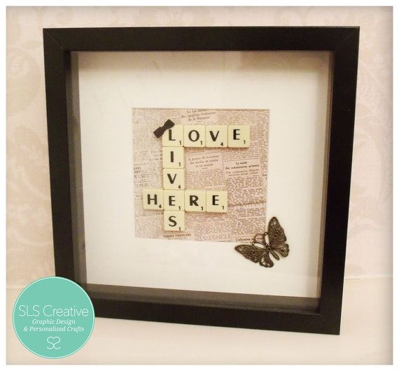 Scrabble Picture Love Lives Here Vintage Style by StaceySansom
