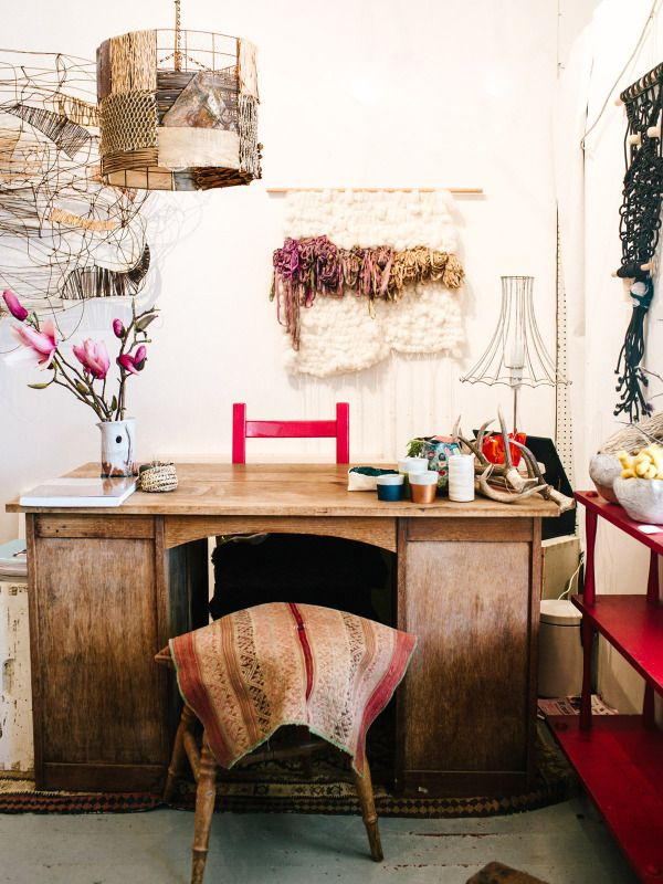 Raw Craft, a brand new craft supplies store in Robertson, NSW, opened by textile artist Natalie Miller (left) and weaver / basket maker Harriet Goodall (right).  Photo - Rachel Kara for The Design Files.