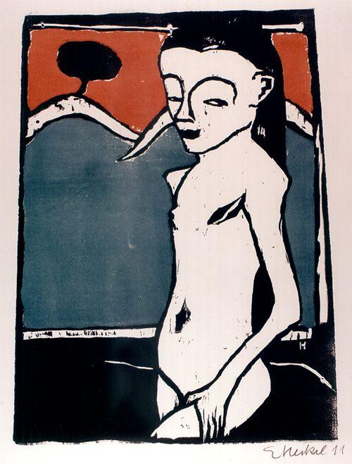 Erich Heckel, Jeune fille debout (Fränzie), Portfolio Die Brücke numéro VI, 1911