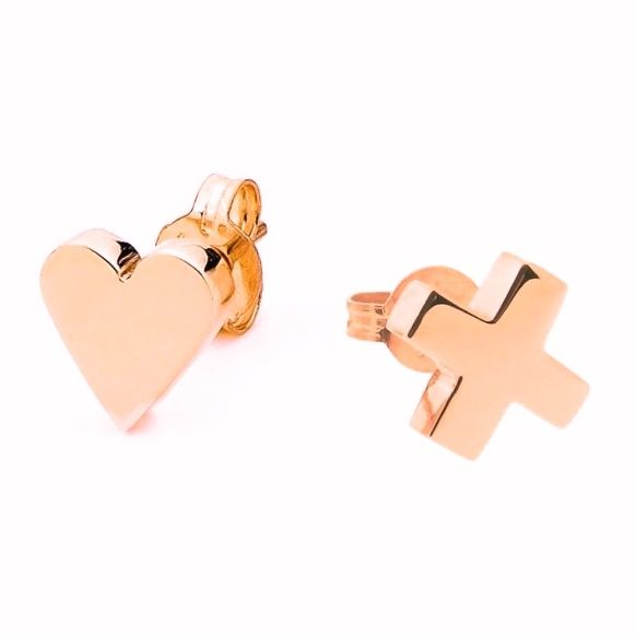 Kiss and heart studs (silver, rose gold or yellow gold) | hardtofind.