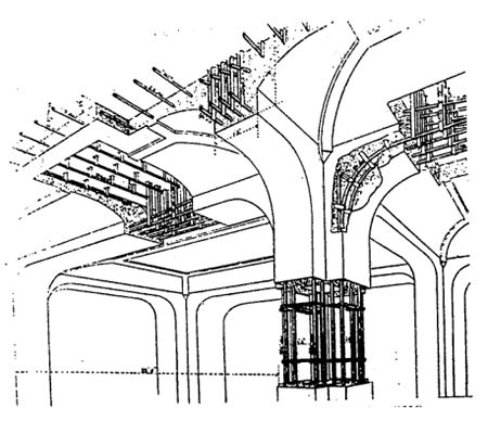 Hennebique system for reinforced concrete, patented 1892