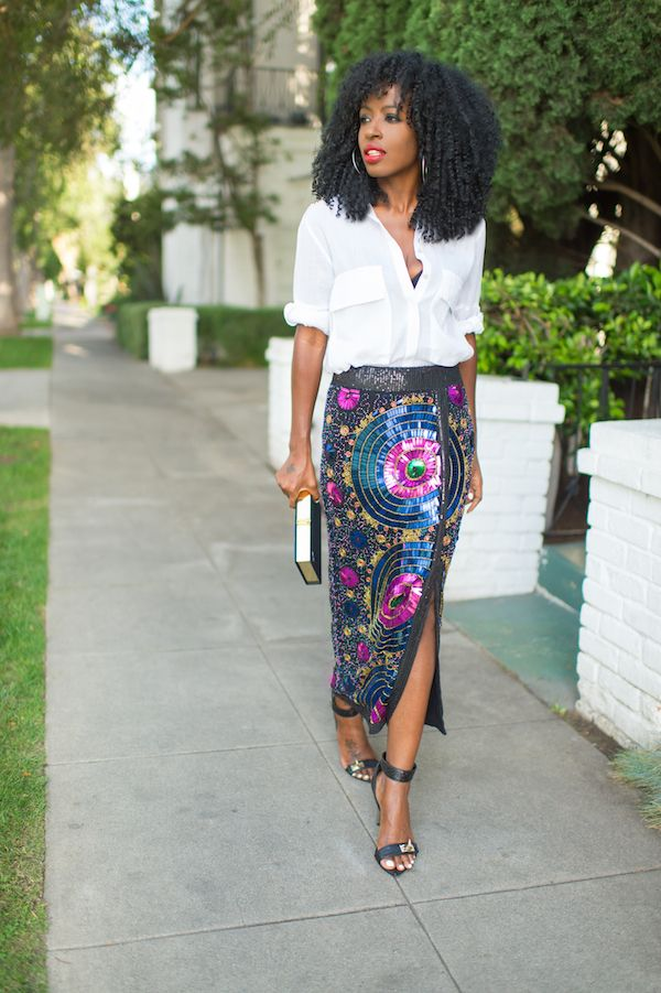 Boyfriend Shirt   Sequin Beaded Midi Skirt