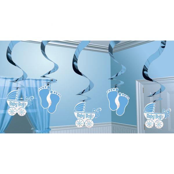 Dekoracja wisząca Baby Shower w kolorze błękitnym. Doskonała dekoracja na przyjęcie z okazji narodzin dziecka lub roczek chłopca.
