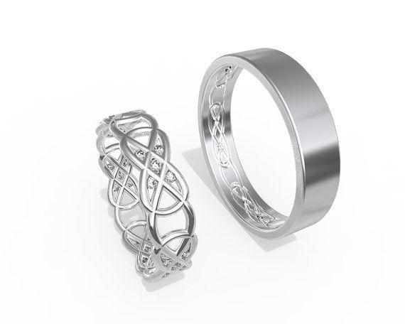 Anneaux de mariage celtique or blanc 14K sertie de diamants | Fait à la main 14k blanc or anneaux de mariage celtique ensemble | Son et sien bandes de mariage ensemble