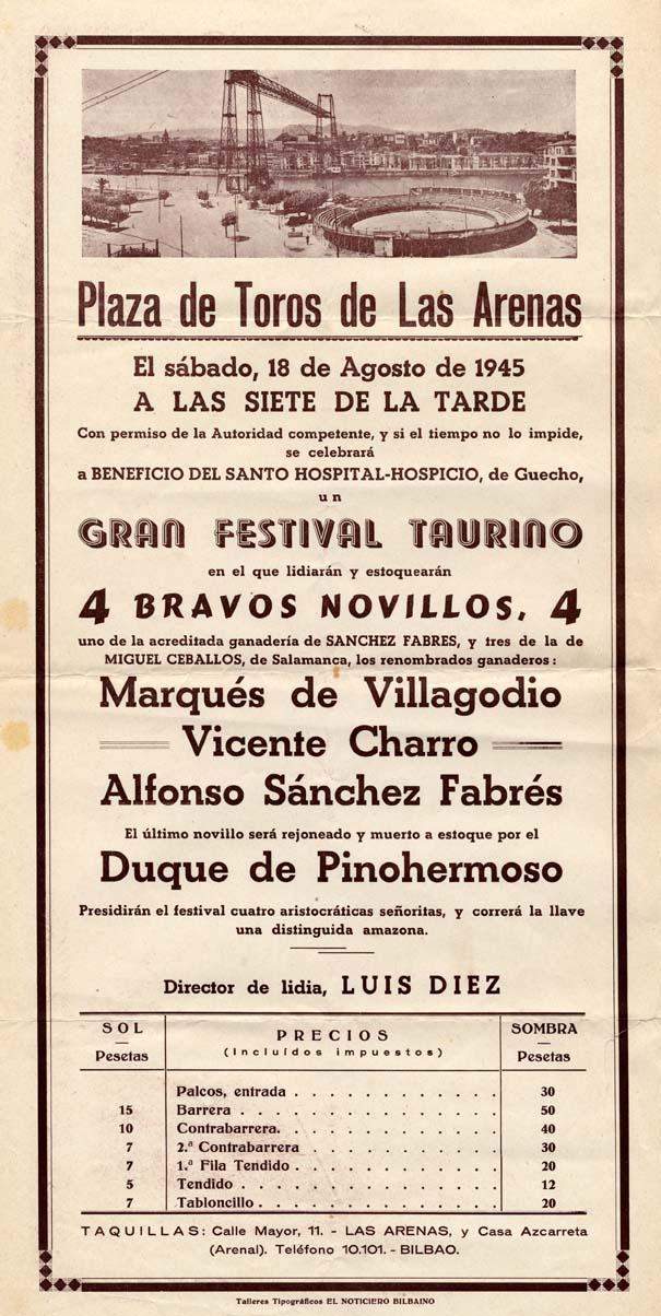Cartel anunciador de una corrida en la plaza de toros de Las Arenas, 1945. (ref. D0093)