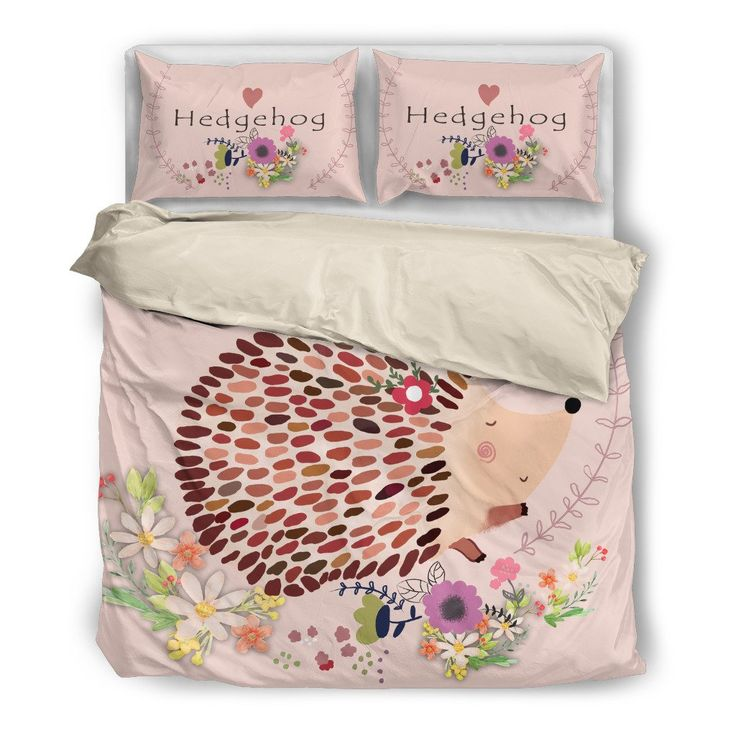 Hedgehog Bedding Set 0310s1 Bedding set comes with one duvet cover and two pillowcases.Comforter, bed sheet and pillow inserts are not included.Features a singl