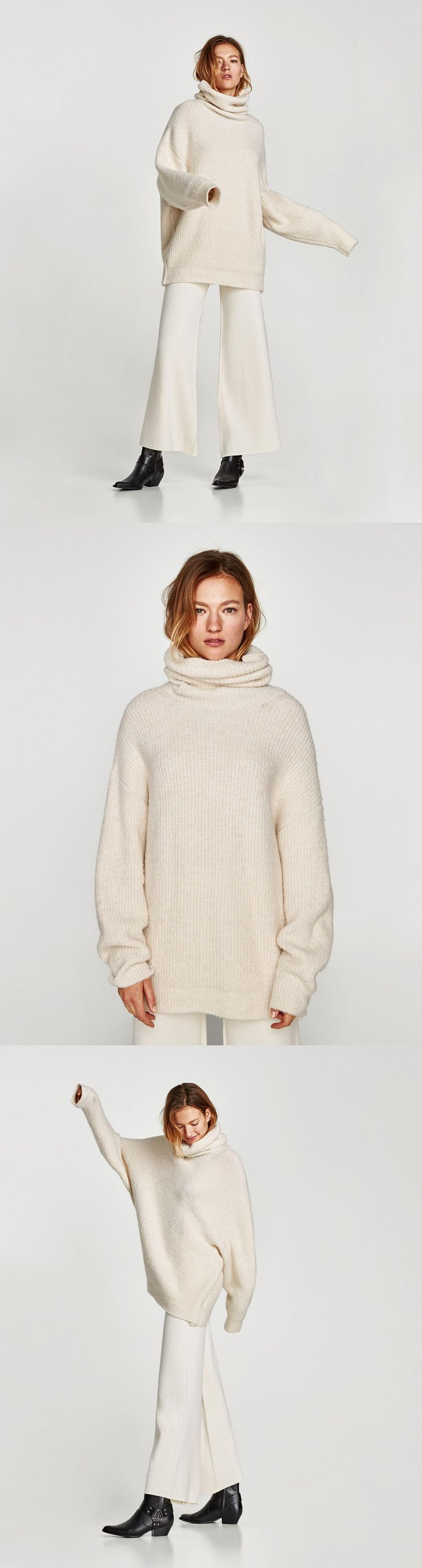 Oversized Roll Neck Sweater // 49.90 USD // Zara // Oversized sweater with ample, roll neck and long sleeves. HEIGHT OF MODEL: 178 cm. / 5′ 10″