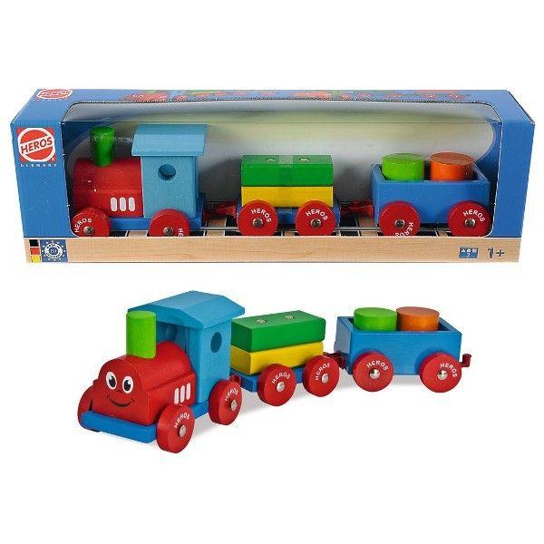 Coś drewnianego, bezpiecznego i zabawnego dla dzieci od 12 miesięcy:)   Heros 22307 - Kolorowy pociąg z doczepianymi wagonikami, wykonany z drewna, pomalowany bezpiecznymi farbami.   Sprawdźcie co znajduje się w zestawie:)