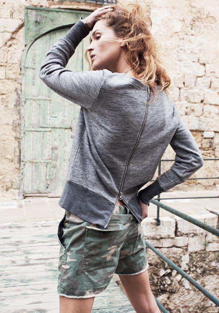 Zip-Back Sweatshirt Madewell Spring 2014, Erin Wasson on location in Malta #denimmadewell