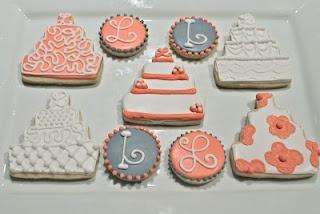 Coral & grey wedding cookies
