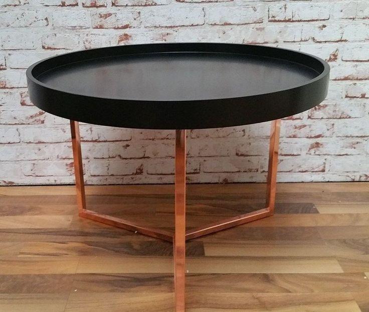 Couchtisch Retro Look Tablett Beistelltisch Shabby Tisch Metall Kupfer Holz