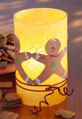 Adventsdeko Windlicht mit Lebkuchenmännchen