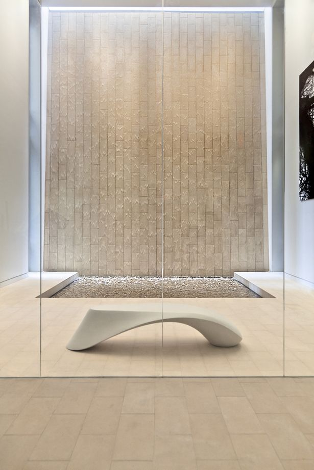 Odalisque Bench in front of Water Wall by Pryor Callaway