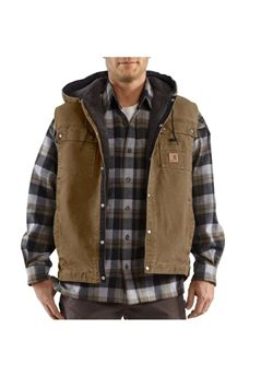 Carhartt Mens Sandstone Hooded Multi-Pocket Frontier Brown Vest | Buy Now at camouflage.ca
