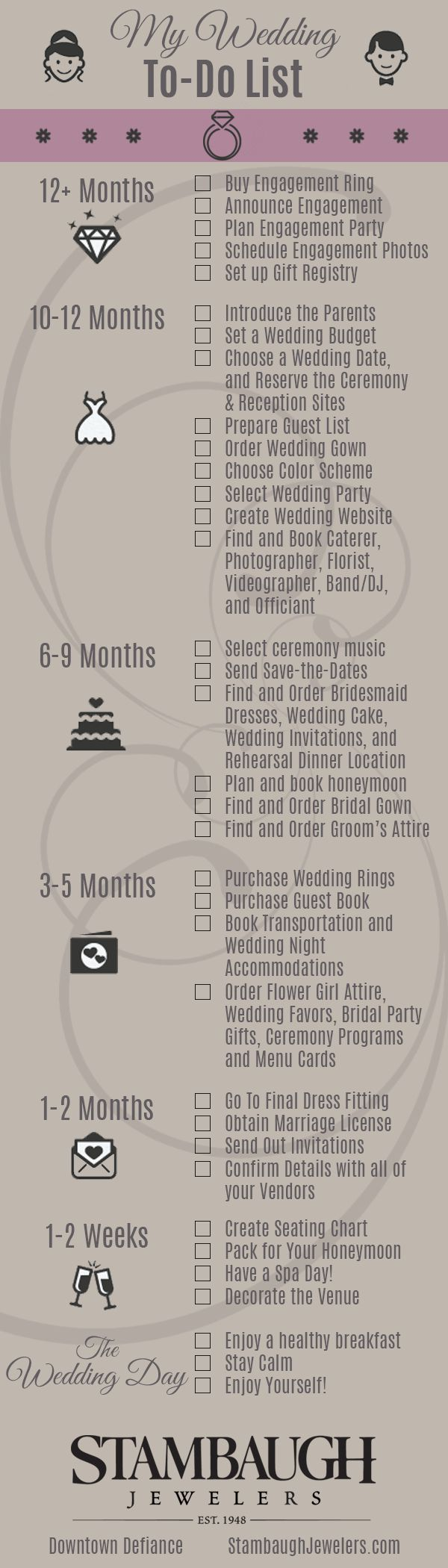 A handy checklist for newly engaged brides. Enjoy!