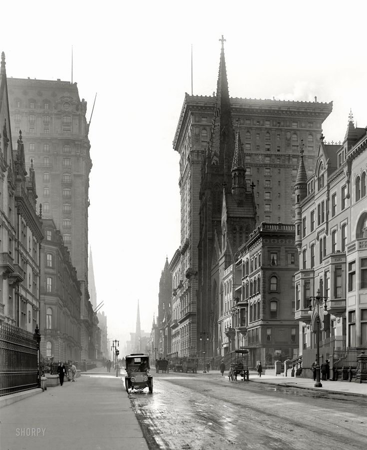 """New York circa 1905. """"Gotham and St. Regis hotels."""" Looking south along Fifth Avenue at East 56th Street. On the right, the Gotham rising behind Fifth Avenue Presbyterian Church. Detroit Publishing Company glass negative.: Void Hotels, Presbyterian Church, Historical Photos, New York Cities, Gotham Hotels, York About, Abt 1905, Regi Hotels, Avenu Presbyterian"""