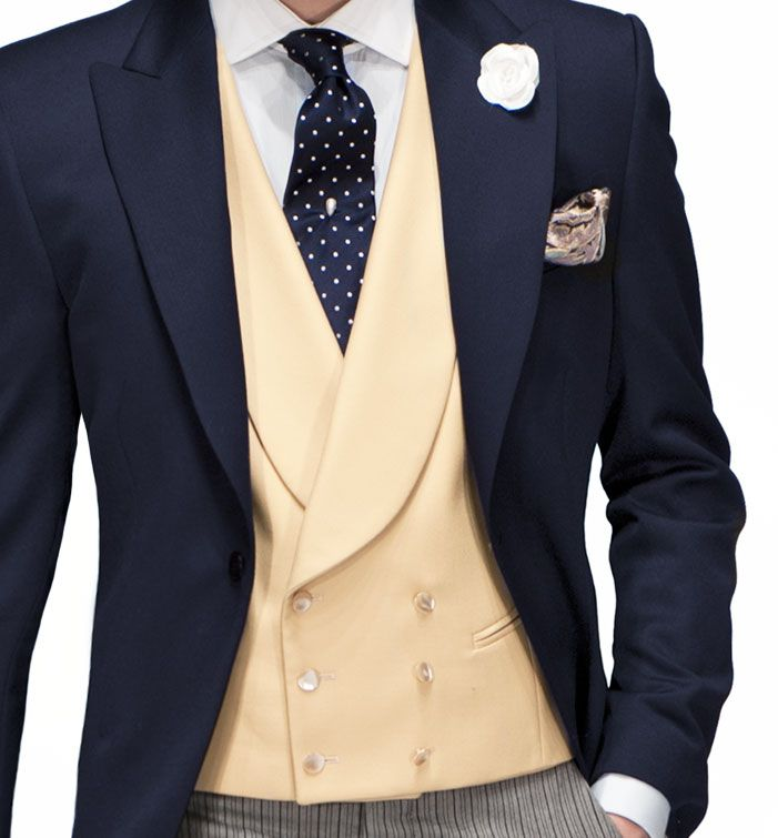 Chapter 15 - Morning suit with butter yellow double-breasted waist coat.  Replace with silver tie, and black pants