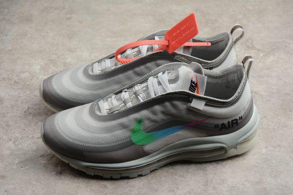 2018 Off White x Nike Air Max 97 WhiteGreen Sneakers AJ4585