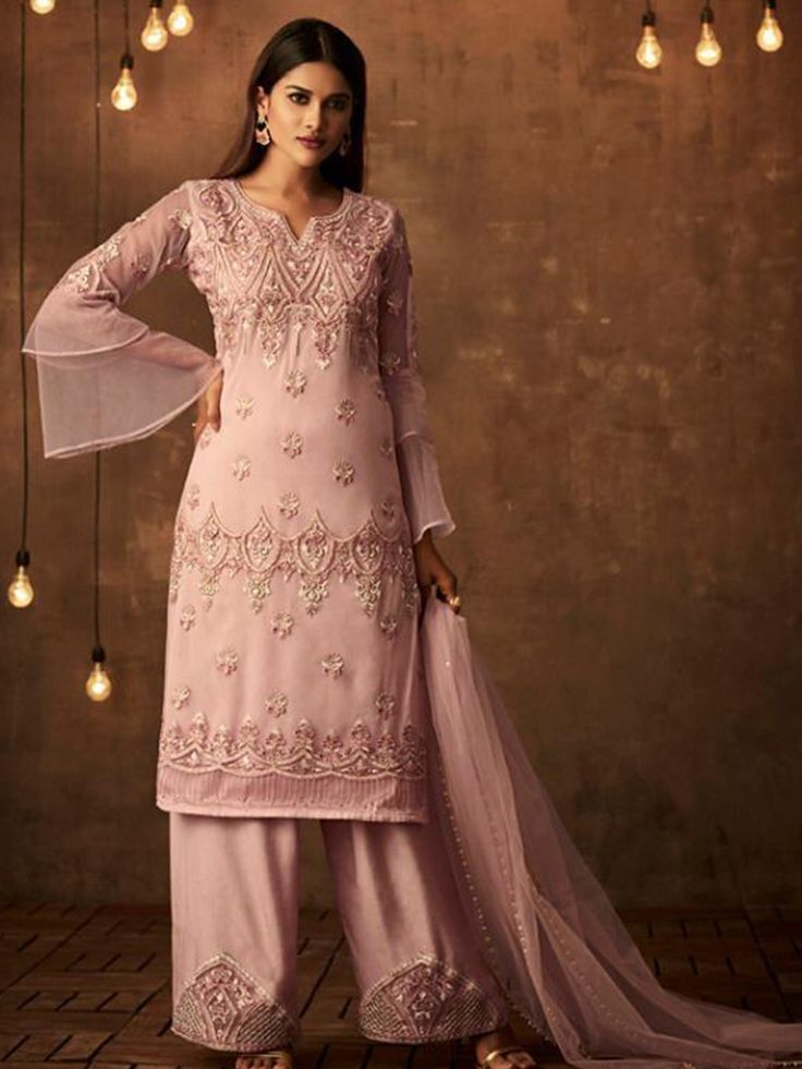 Pink Colored Heavy Embroidered Original Palazzo Suit ...