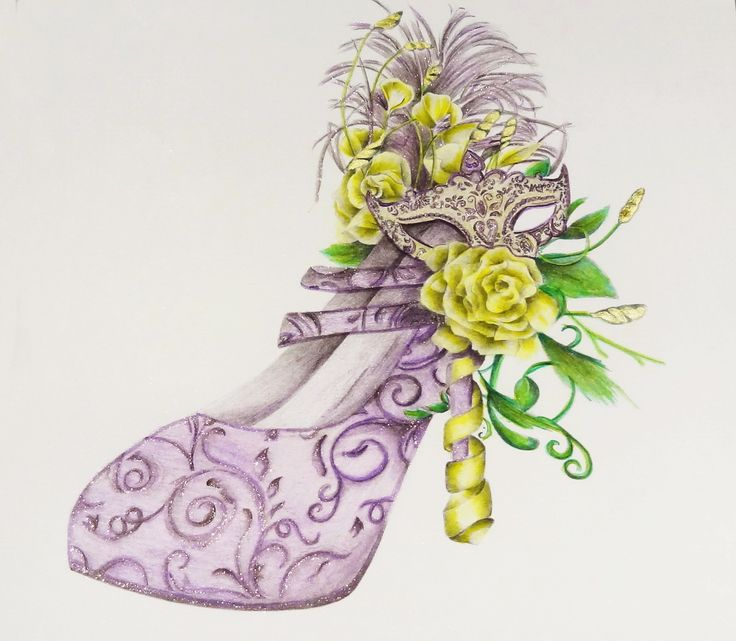 Coloued with faber castell pencils from Le Shoe colouring book