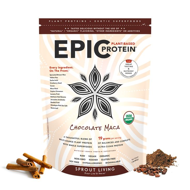 Epic Protein : Chocolate Maca is delicious, organic vegan protein powder with 19 grams of protein from 4 plant sources and superfoods like cacao and maca.