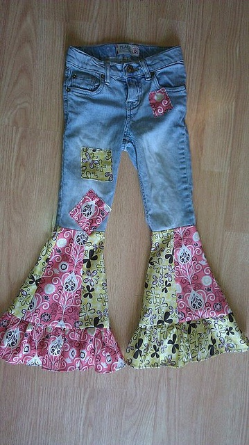 bell bottoms!! made from jeans with holes in the knees - or when the kids jeans still fit but are too short...