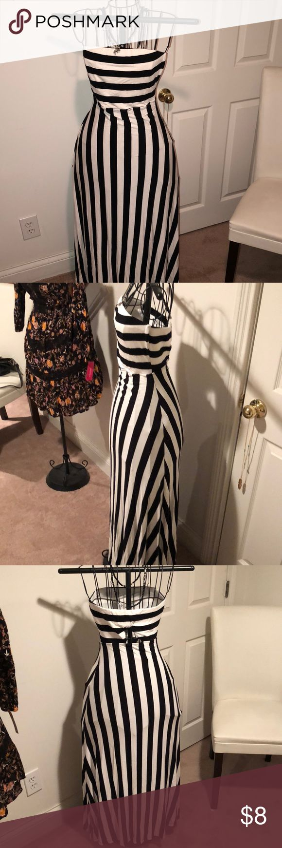 Black & white stripped maxi dress Excellent condition. NEVER WORN! Dresses Maxi