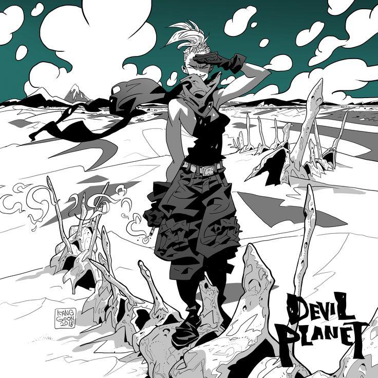 Devil Planet character Angel. facebook.com/kanggoonart facebook.com/devilplanet #art #characterdesign #desert #drawing #inking #girl #military #smoking #bones #whale #clouds #sketch #ink #logo #devilplanet #kanggoon