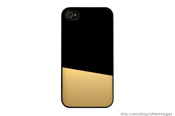 Black and Gold Color Block iPhone Case Modern by afterimages, $17.99