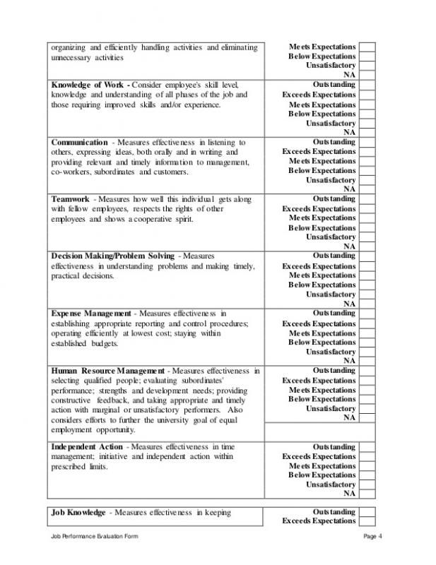 Performance Evaluation Template Template Performance