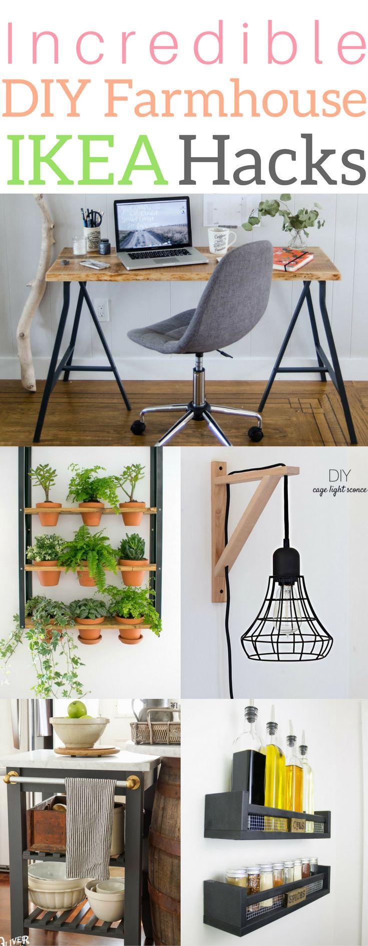 Incredible diy farmhouse IKEA hacks bedroom storage desk dresser lamp kitchen office nightstand DIY hacks