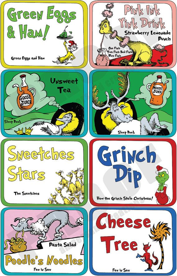 Dr Seuss  Deluxe Theme Food Label Set by AmpersandCreations. , via Etsy.