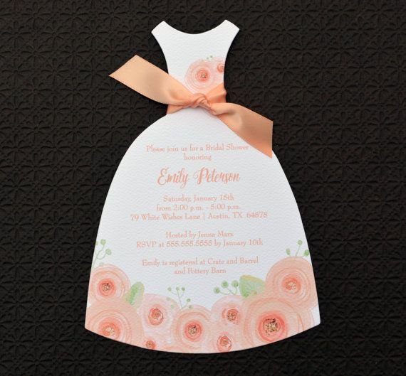 Peach ranunculus watercolor floral bridal shower die cut dress invitation - has rustic option with a kraft cardstock back layer