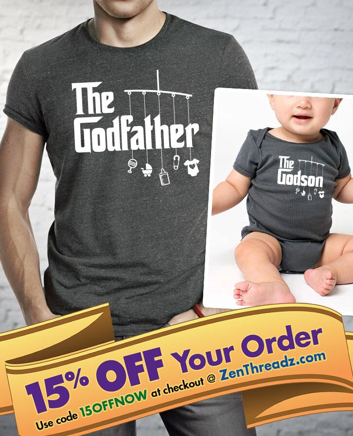 shirt and onesie set for godfather, godmother & godson/goddaughter - matching onesie or shirt w/mobile  |  baptism shirt  |  godparent gift by Vinagain2 on Etsy https://www.etsy.com/listing/462982188/shirt-and-onesie-set-for-godfather