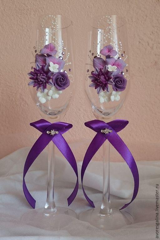 Купить свадебные бокалы - фиолетовый, свадьба, свадебные аксессуары, свадебные бокалы, бокалы для свадьбы