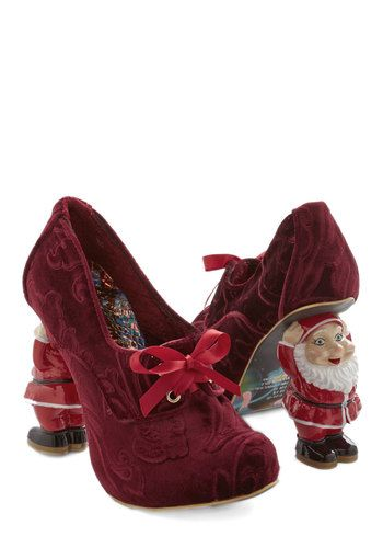 Heel Comes Santa Claus. Stroll right down Santa Claus Lane in these burgundy heels from hard-to-find Irregular Choice Gold Label. #red #modcloth