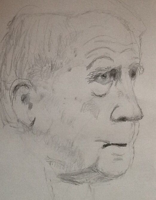 My sketch of poet Robert Frost, drawn during my dialysis treatment this morning