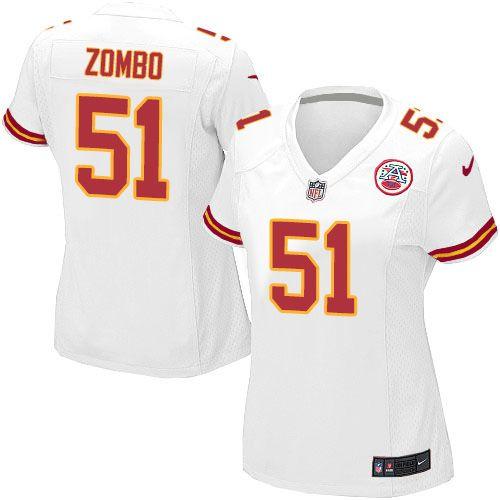 Nike Limited Frank Zombo White Women's Jersey - Kansas City Chiefs #51 NFL Road